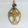 8-RM271-BPCO39 CELTIC CROSS WITH BLUE BEADS.  CAN BE ANY STONES OR PEARLS TO MATCH NECKLACE