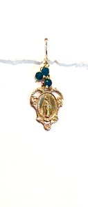 8-RM138-BA CO38  MIRACULOUS MEDAL WITH BLUE JADE