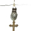 8394-2RS CO64  CRUCIFIX WITH BIG RHINESTONE AND VINTAGE SPACER WITH WHITE PEARL