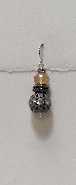 """8-PQ-2RS CO49 PEACH QTZ AND 2 RHINESTONE EAR  1 1/8"""" WITHOUT WIRE"""