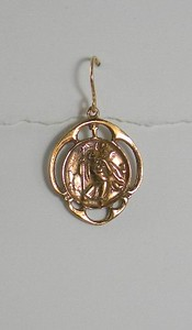 8-RM133-W CO28  BRONZE ST CHRISTOPHER MEDAL EAR 1 1/8""