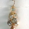 8-BQ-PRL- CO52 CLUSTER EAR WITH PEARLS AND BLUE QUARTZ TO GO WITH CZ CROSS NECKLACE