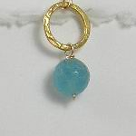 8-GC-BA CO34  BLUE AGATE ON GOLD PLATED CIRCLE