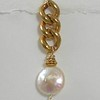 8-BVC-WC CO36  WHITE COIN PEARL ON BIG VINTAGE CHAIN