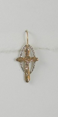 8-RM8-SL CO32  BRONZE CROSS ON SILVER PLATED LINK
