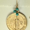 """8-RM216-TQ CO43 THIS MEDAL SAYS """"LET THE CHILDREN COME TO ME""""   TURQUOISE BEADS ON TOP"""