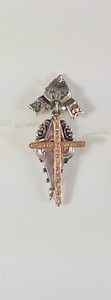 8-SS-RM34 CO 52 STERLING ANTIQUE REPLICA EARRING WITH BRONZE CROSS