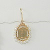 8-WP-RM110 CO58  BRONZE MIRACULOUS MEDAL WIRE WRAPPED IN WHITE FRESHWATER PEARLS