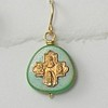 7-RM83-GTQ CO38  TINY 4 WAY CROSS ON GREEN TURQUOISE