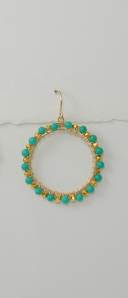 8-GC-WTQL CO68  LARGE VERMEIL CIRCLE WRAPPED IN TURQUOISE