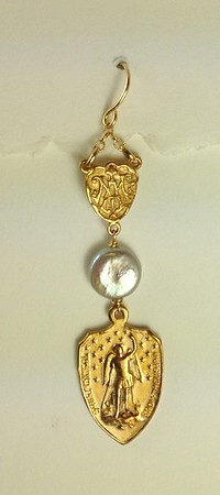 """8-RM394-RM209 CO48  ST MICHAEL WITH COIN PEARL  2 1/4"""" TALL"""