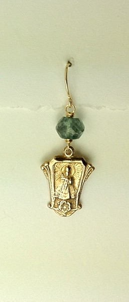 8-RM208-BQ CO35 INFANT JESUS OF PRAGUE MEDAL WITH BLUE QUARTZ