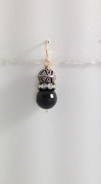 8-SS-RS-OX- CP38  STERLING BEAD, ,AGED RHINESTONE SAUCER AND ONYX BEAD