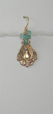 80RM141-AP CO40  MIRACULOUS MEDAL WITH APATITE.  MOST EVERY STONE OR PEARL IS AVAILABLE LIKE THIS WITH ANY OF THE MEDALS--INCLUDING THE STERLING ONES.