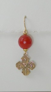 8-CRN-RM10 CO38  4 WAY CROSS ON RED CARNELIAN