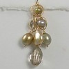 8-GLD-STCL CO55  CLUSTER EAR WITH SMOKY QUARTZ, FRESHWATER PEARLS