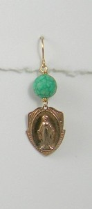 8-TQ-RM206 CO36  MIRACULOUS MEDAL WITH FACETED TURQUOISE