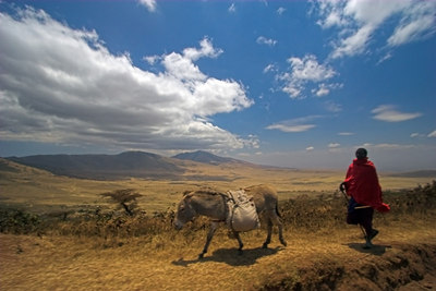 Ngorongoro Crater Ngorongoro Highlands -Masai with Donkey