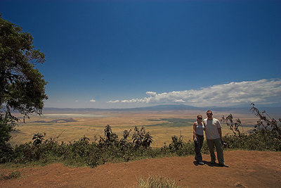 Ngorongoro Crater Crater Viewpoint - Chris and Me