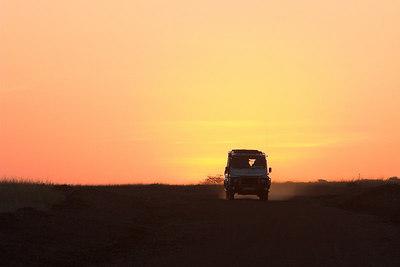 Masai Mara NR Safari Vehicle & Sunrise
