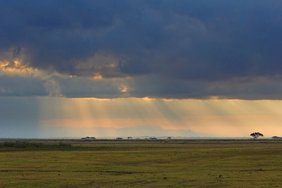Amboseli NP Rays of Sunlight over Plain