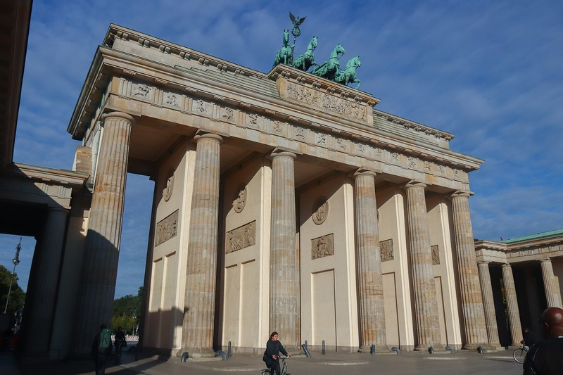 The Brandenburg Gate was one of very few structures in Berlin that survived WWII, although it suffered damaged.