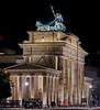Telephoto view of Brandenburg Gate looking south. Berlin.