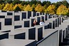 The Memorial to the Murdered Jews in Europe in Berlin. 2711 granite blocks spaced between descending walkways allow visitors to walk among them and disappear, just as the Jews did in the Holocaust.