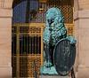 Lion statue in front of the Rathousplatz in Dresden, Germany.