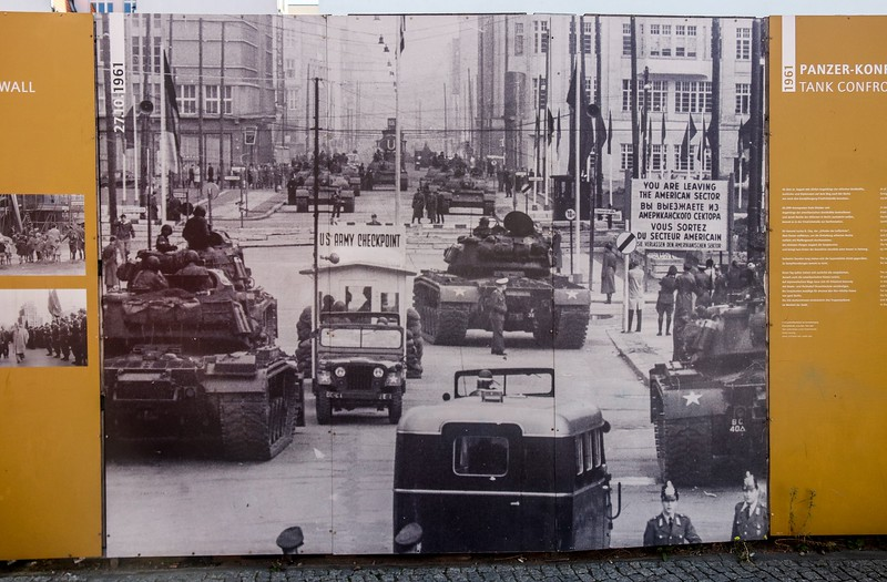 Tensions were high at the Berlin Wall in 1961, as this photo of Checkpoint Charlie shows.