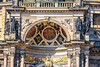 Closeup of the main entrance art on the Dresden Opera House, called the Semperoper.