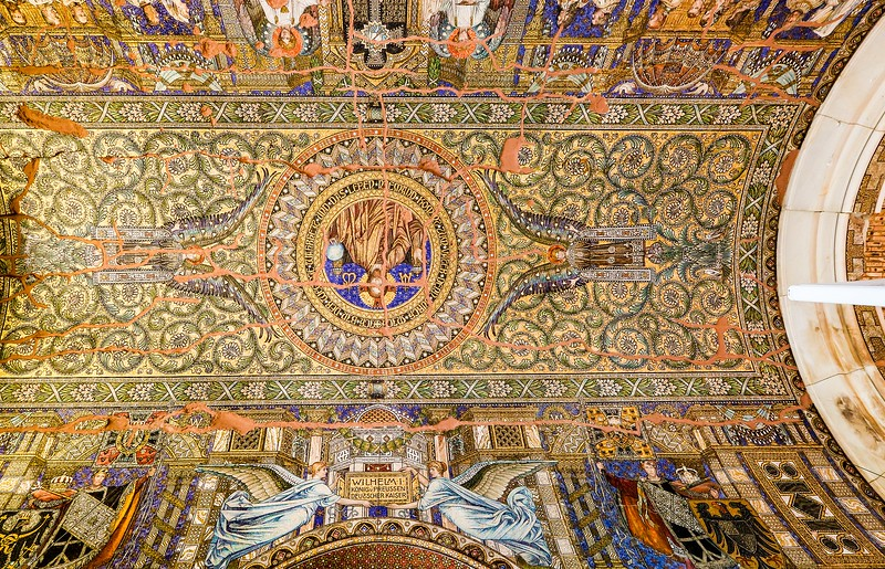Mosaic ceiling of the Kaiser Wilhelm Memorial Church. A key figure in the 2007 restoration effort to save the church tower from decay was Charles Gray, an RAF bomber pilot who flew raids over Germany in WWII.