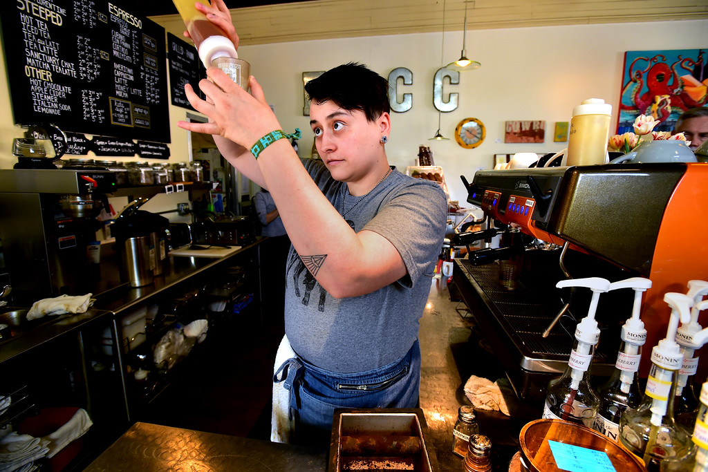 . at the East Simpson Coffee Company on Wednesday morning in Lafayette. For more photos go to www.dailycamera.com Paul Aiken Staff Photographer April 19, 2017
