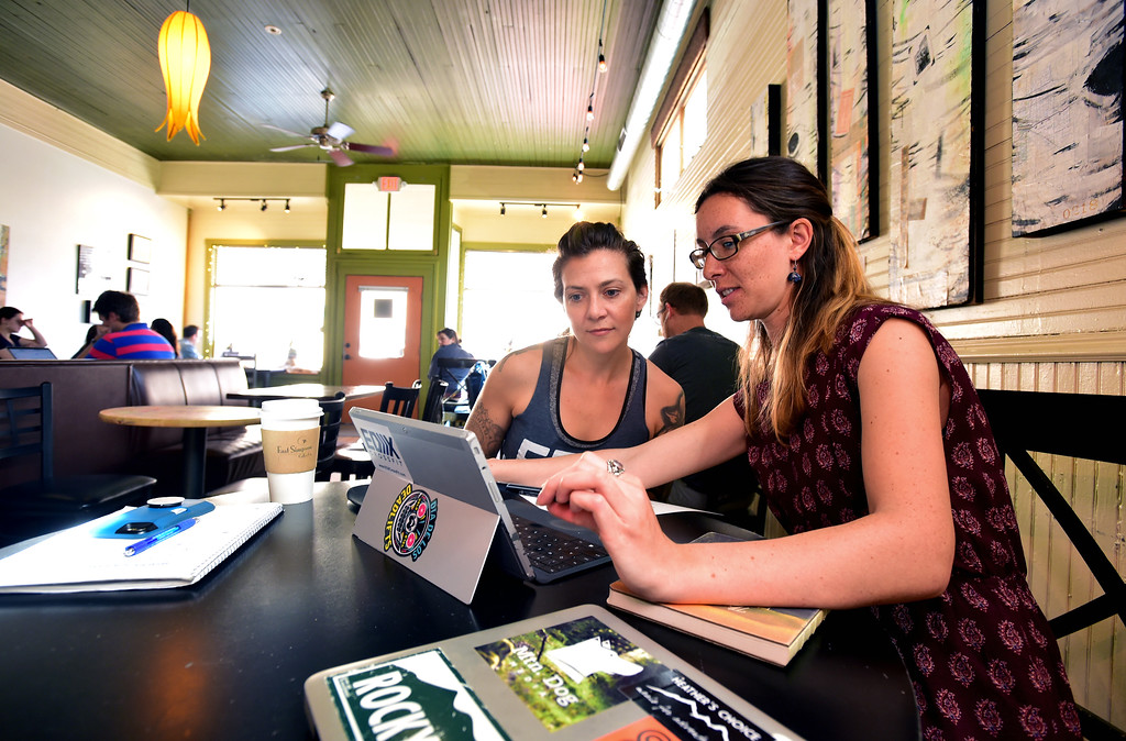. Liliana Gala, lefts works with digital marketing advisior Kayleen Cohn at the East Simpson Coffee Company on Wednesday morning in Lafayette. Gala is opening a cross fit gym in the city.  For more photos go to www.dailycamera.com Paul Aiken Staff Photographer April 19, 2017