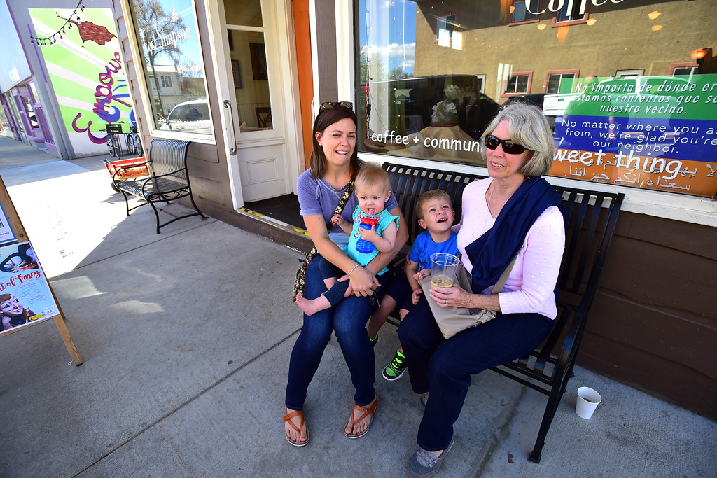. Maddy Wiseman and her kids Hadley, 1, and Oscar, 3, and the kids grandmother Sue Ickes hang out at the East Simpson Coffee Company on Wednesday morning in Lafayette. Ickes, from Pennsylvania, was in town visiting the Wisemans who live in Thornton.  For more photos go to www.dailycamera.com Paul Aiken Staff Photographer April 19, 2017