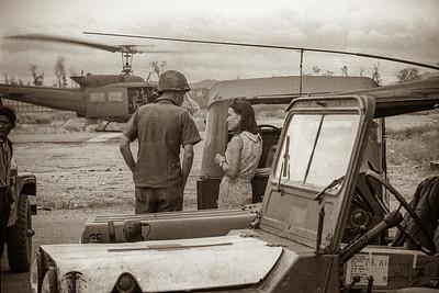 Rita conferring with military at Kontum airport