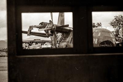 Damaged C-130 at Kontum airport