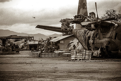 Damaged C-130 at Kontum airport