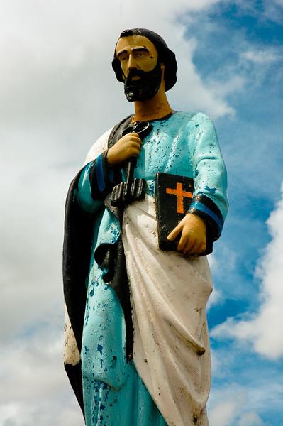 Christian Statue overlooking Caleta Hanga Roa
