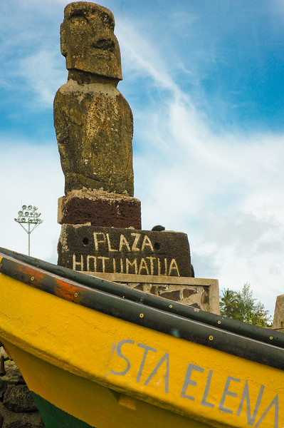 Moai at the Plaza Hotumatua<br /> Hanga Roa, Capital of Easter Island