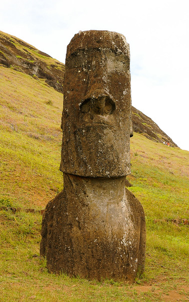 Moai set in the hillside at Rano Raraku
