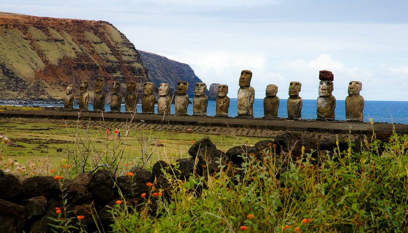 Moai facing inland at Ahu Tongariki