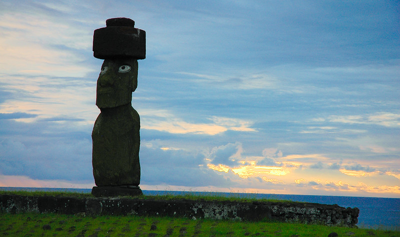 Re-erected tuff moai at Ahu Tahai with restored pukao and replica eyes