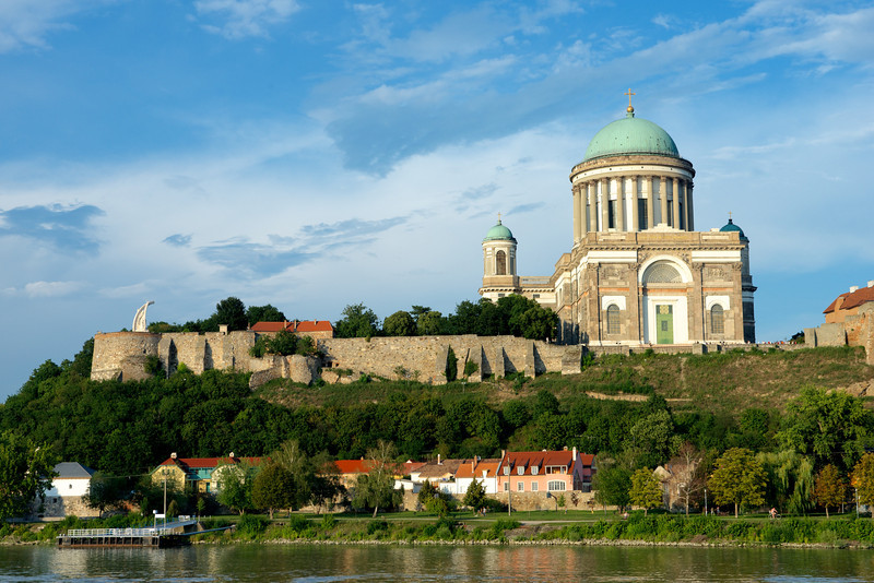 The city of Esztergom just over the Slovakian border in Hungary on the right bank of the Danube.  The Esztergom Basilica is the largest church in Hungary.