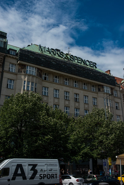 Today it's Marks & Spencer's main store in Prague. Vaclav Havel spoke to the masses (accompanied by Alexander Dubcek) from the balcony here, an important event in the Velvet Revolution (formerly the Melantrich Building).