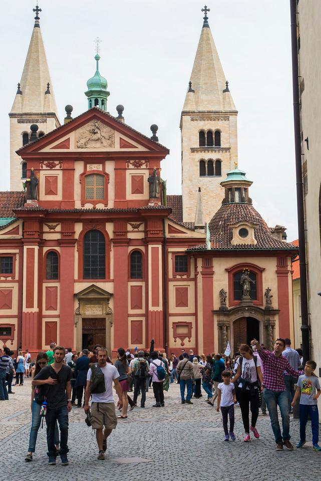 The Baroque St. George's Basilica at Prague Castle. (built 915-921)