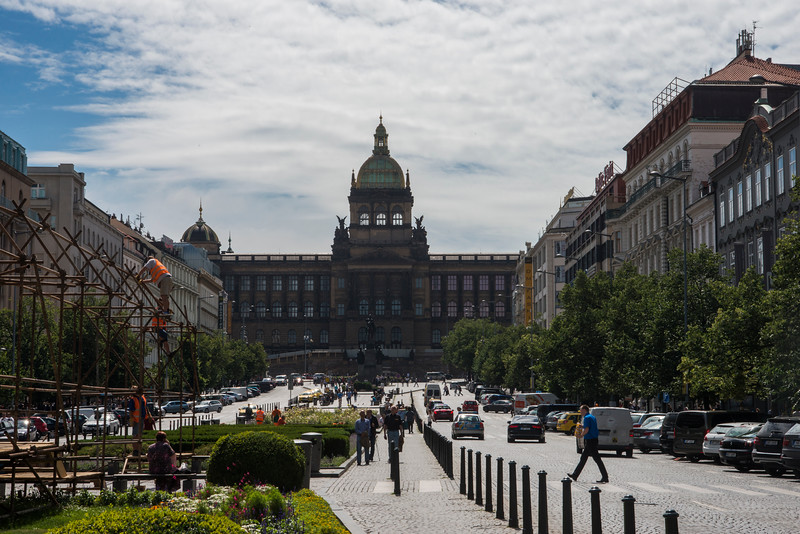 Wenceslas Square and the National Museum and dome.