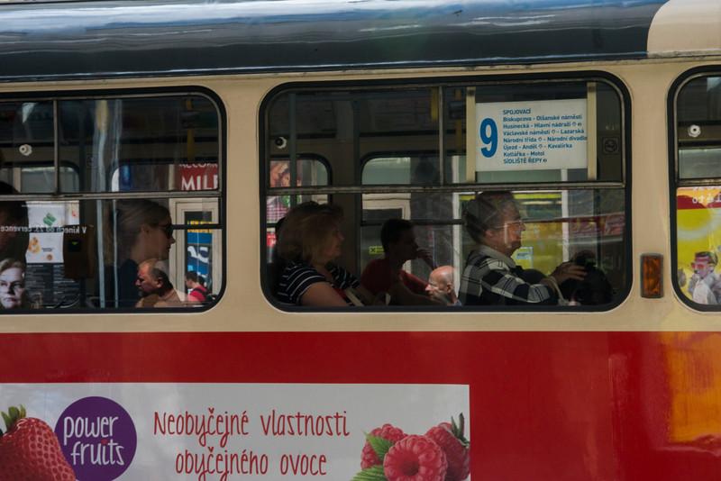 Tram riders.