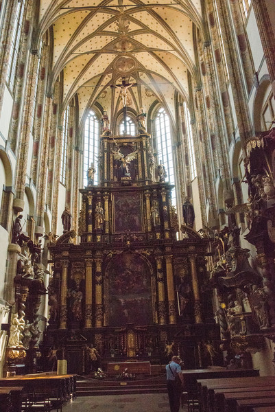 Church of Our Lady before Tyn.  Gothic, Renaissance and  Baroque features create remarkable contrasts.