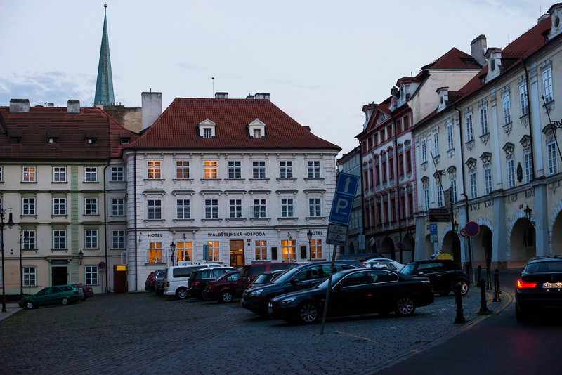 Old Town Square at dusk.